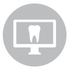 Monitor with a tooth in a gray circle
